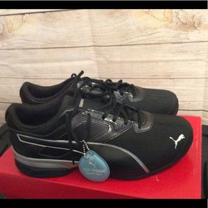 Puma Tazon 6 Black and Silver Shoes